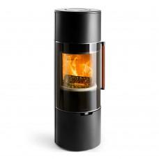 Печь K900, высокая, черная, кожаная ручка + хромированная окантовка стекла (Keddy)